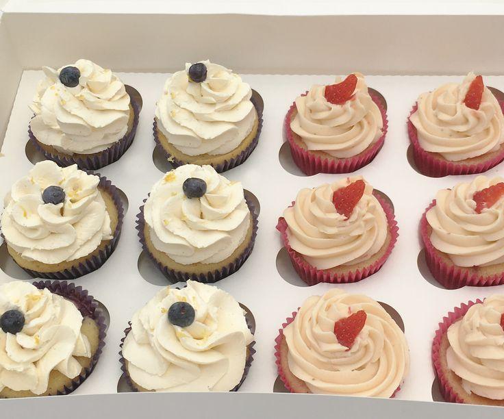 Fresh Blueberry and strawberry cupcakes. The Cake Lab Bakery, Ranelagh, Dublin, Ireland. Artisan Baking Studio.
