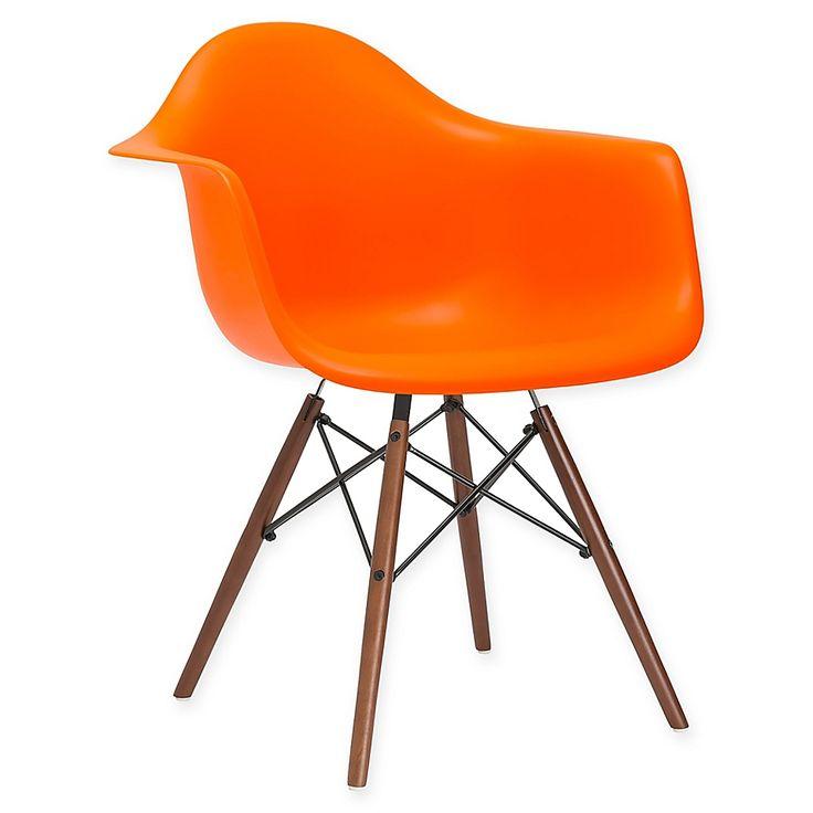 Poly And Bark Vortex Arm Chair With Walnut Legs In Orange ...