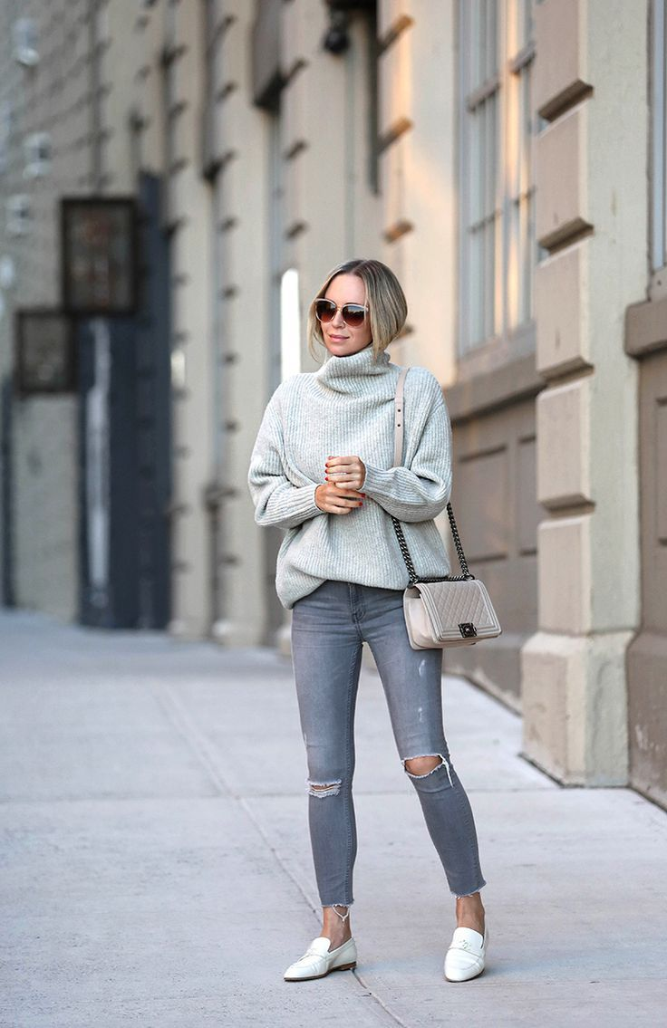 99936c9df0 Grey Monochromatic Outfit, White Chanel Loafers, Ivory Chanel boy bag, Helena  Glazer from Brooklyn Blonde
