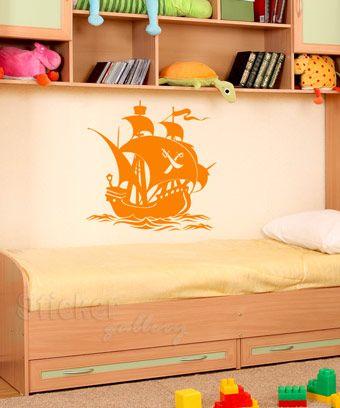 Wall sticker Pirate ship - Kids room decoration.  Παιδικά Αυτοκόλλητα Τοίχου - Πειρατικό Καράβι - διακόσμηση με αυτοκολλητα τοιχου