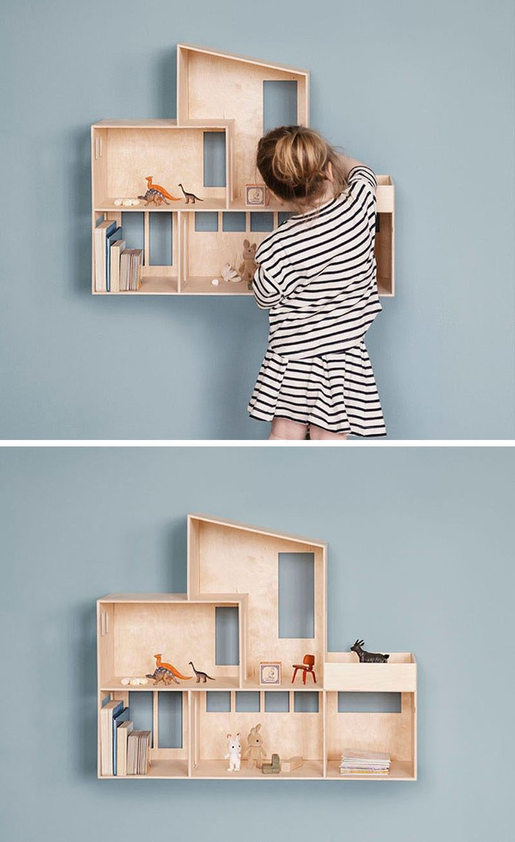 This wall-mounted modern dollhouse is great for decorating a cute bedroom for a little girl.