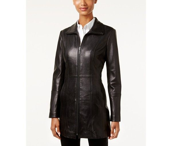 Anne Klein Mid-Length Leather Coat - Women Leather Jackets - SLP - Macy's