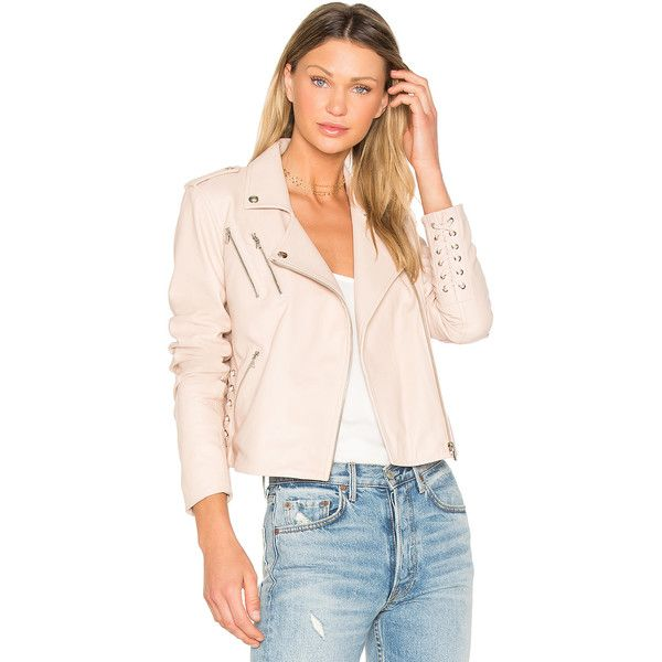 Generation Love Callahan Jacket ($700) ❤ liked on Polyvore featuring outerwear, jackets, coats & jackets, genuine leather jackets, leather zip jacket, real leather jackets, 100 leather jacket and pink zip jacket