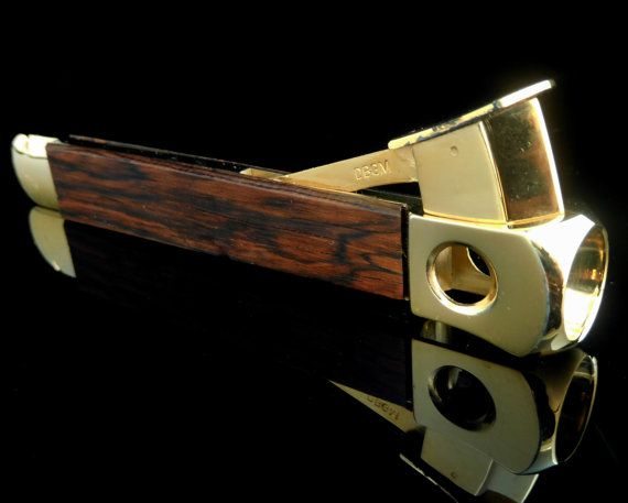 Cigar Cutter with Gold Plated Details and Teak Wood Decor // Midcentury German Smokers Articles