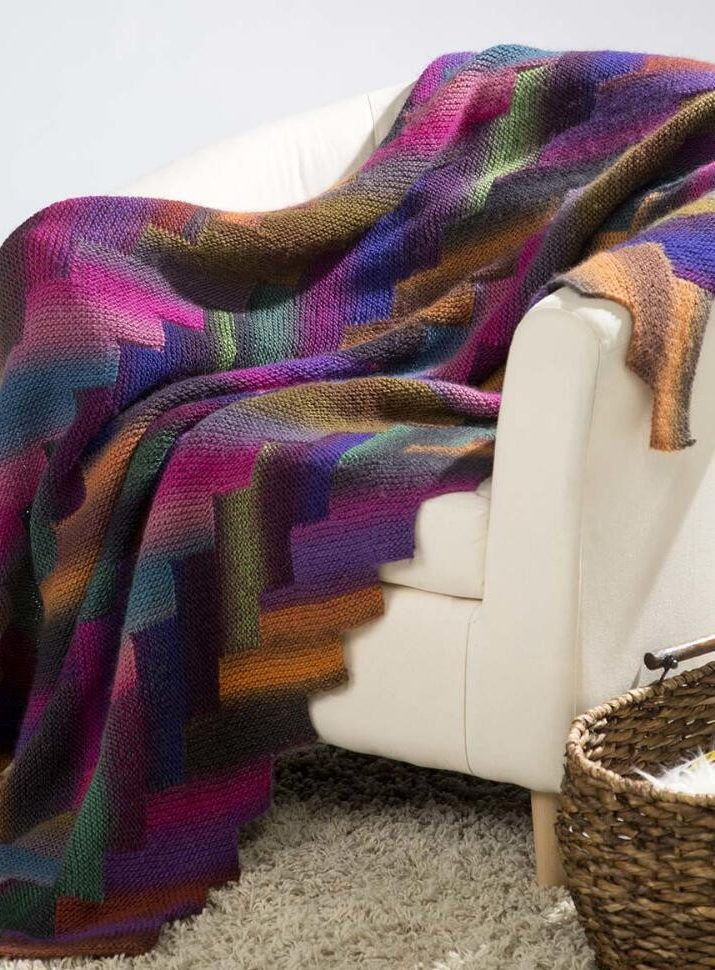 Free Knitting Pattern for Auralite Afghan - This afghan is knit in 4 sections of zigzag edged strips. Great with multi-color yarn! Designed by Premier Yarns.
