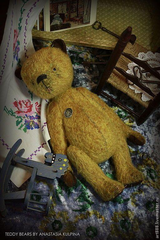 Купить Медведь тедди . Миша - жёлтый, мишка тедди, мишка ручной работы, медведь тедди