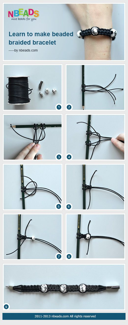 Summary: A pencil is used as a braiding holder to make a beaded braided bracelet. It is quite easy for you to fasten cords to the pencil. Waxed cord bracelet paired with european beads just looks fantastic. You will find it simple and vogue.