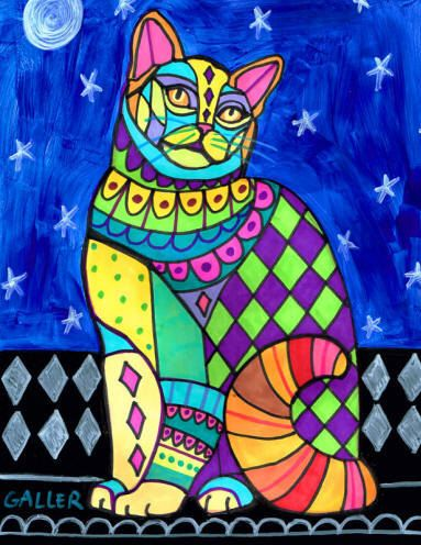 American Wirehair Cat Folk art  Ceramic Tile  Poster Print of  Painting  by Heather Galler