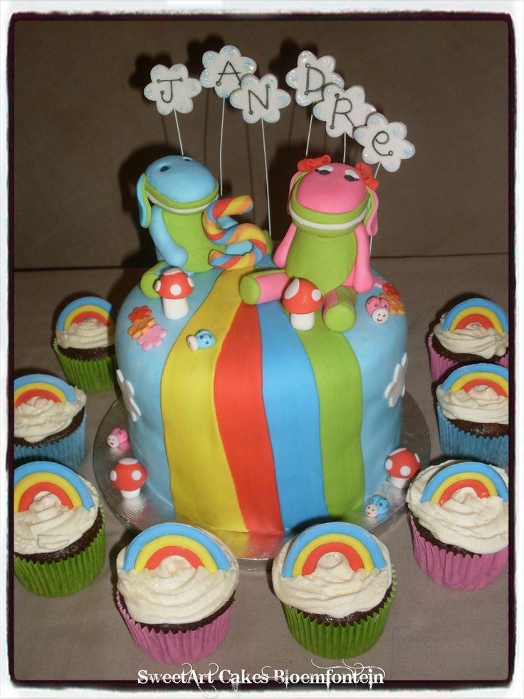 Colorful little Lollos & Lettie Mini cake & 10 rainbow cupcakes. For more information & orders, email SweetArtBfn@gmail.com or call 0712127786