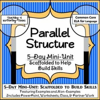 Spend a few minutes (10-30) for several days teaching parallelism. Aligned with ACT Quality Core and Common Core State Standards, this packet contains the following resources: Examples and Non-Examples PowerPoint with Exit Slip. Worksheet with non-examples pointed out in bold, to students make corrections. Worksheet with no prompts. Partner Worksheet (you can time this and make it a whole-class partner challenge).  Parallel Punctuation. Web Project. Quiz.