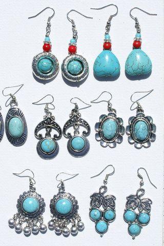 Lot 7 par øreringe med turkise naturlige tibetanske sten, smykker auktioner, tibet - 154.40 kr. - Danske Auktioner