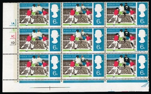 """1966 6d World Cup Football Championship (Phosphor). Superb unmounted o.g. left hand corner marginal cylinder block of nine with black (Goalkeeper's Jersey and """"1E"""" cylinder) omitted from the first column and partially omitted on the second. A magnificent positional multiple - scarce, Pierron records only 24 mint examples."""