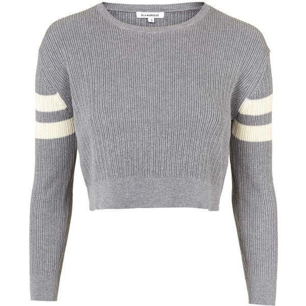 TOPSHOP **Knitted Cropped Jumper by Glamorous (£27) ❤ liked on Polyvore featuring tops, sweaters, shirts, grey, gray crop top, topshop jumper, jumpers sweaters, cropped sweater and topshop sweaters