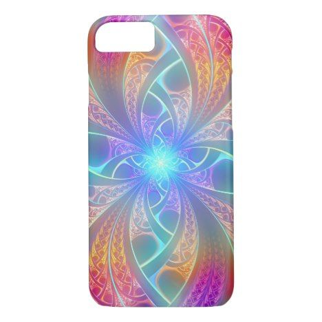 Psychedelic Rainbow Swirls Fractal Pattern iPhone 8/7 Case #fractal #pattern #iphone #protective #cases