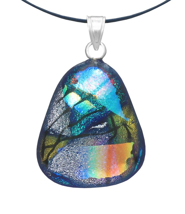 Dichroic Glass Pendant with Silver Bail