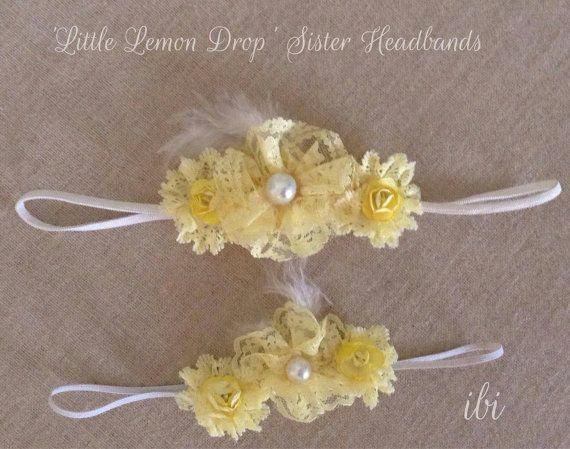 Little Lemon Drop sister headband set handmade lemon sunshine yellow lace blooms  on Etsy, $41.95 AUD