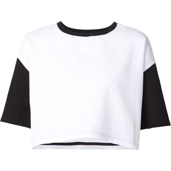 """""""Comeforbreakfast"""" colour block cropped T-shirt ($195) ❤ liked on Polyvore featuring tops, t-shirts, crop tops, shirts, white, crop t shirt, white t shirt, colorful t shirts, crop top and white shirt"""