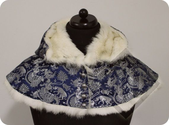 Woman's Brocade Buttoned Hood Lined with Rabbit Fur