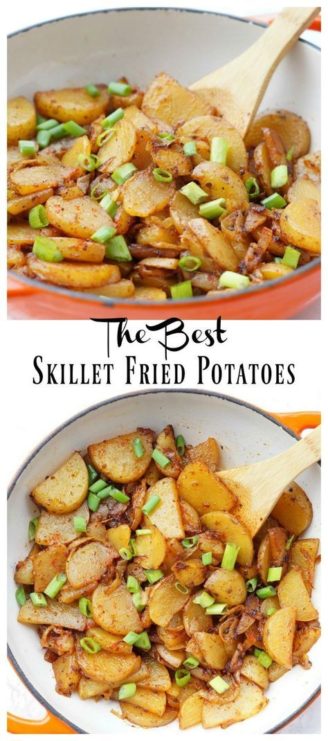The Best Skillet Fried Potatoes with Two Secret Ingredients that make these perfect! {Easy Side Dish Recipes} {Fried Potato Recipe}