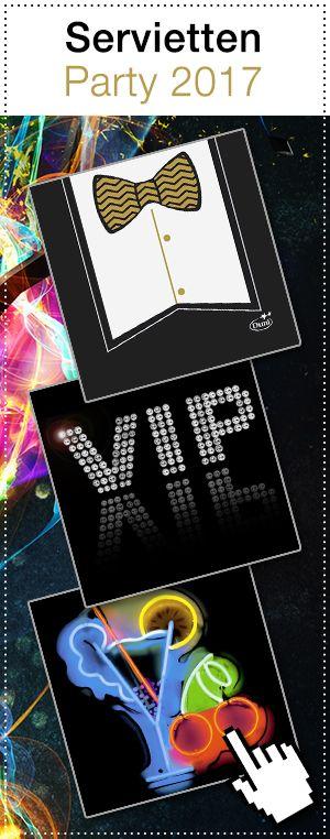 Party, Party, Party! Trendige Motive, wie ein schickes Hemd mit Fliege oder ein cooles VIP Zeichen zieren diese Servietten. Für Alle, die den Gästen etwas besonderes bieten wollen. #Servietten #Tischdekoration #VIP #Party #Feier #Gestaltung #Hertie