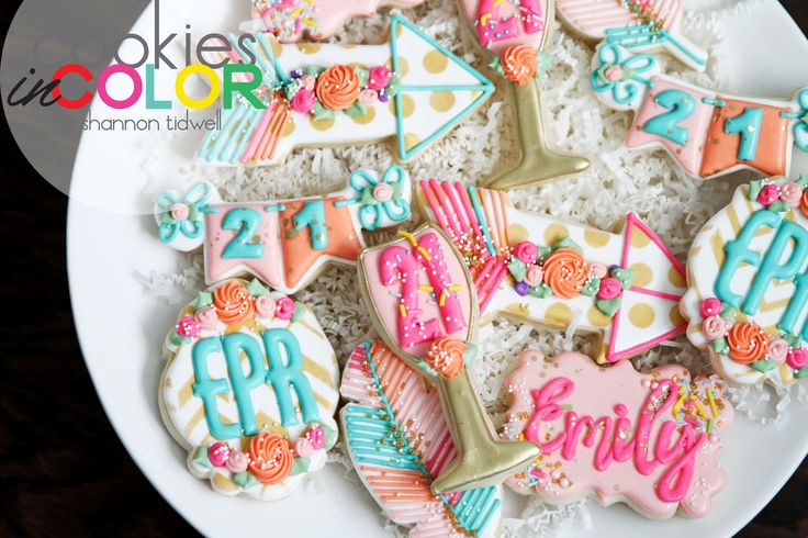 21st Birthday Cookies   Cookies In Color   Shannon Tidwell