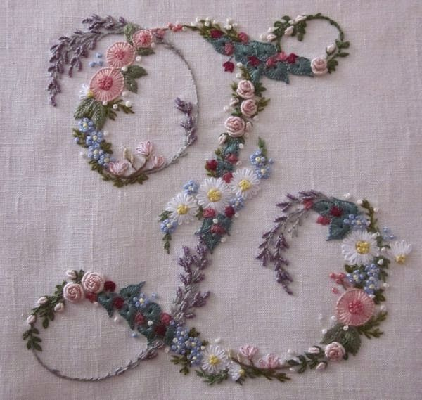 Elizabeth Hand embroidery: flowery letters                                                                                                                                                     More
