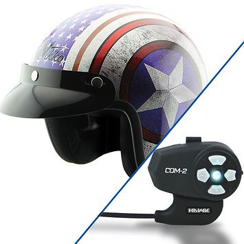 Nikko N313 White/Blue Open Face Helmet with Hawk COM-2 Bluetooth Motorcycle Headset