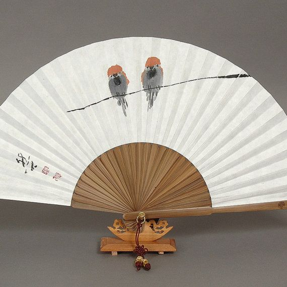 Sparrow Oriental Painting Korean Sumie real by Haminbridge on Etsy, $21.99