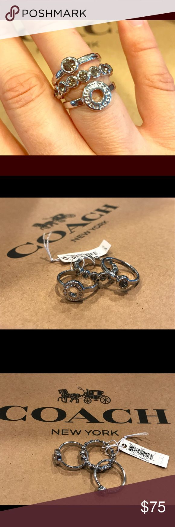 Coach Circle Ring Set Authentic and new in box. Very sparkly. Set of 3. Silver tone. Coach Jewelry Rings