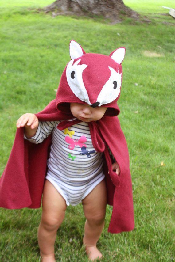 Fox Cape Halloween Costume Kids Dress Up Burgundy by arainydayplay