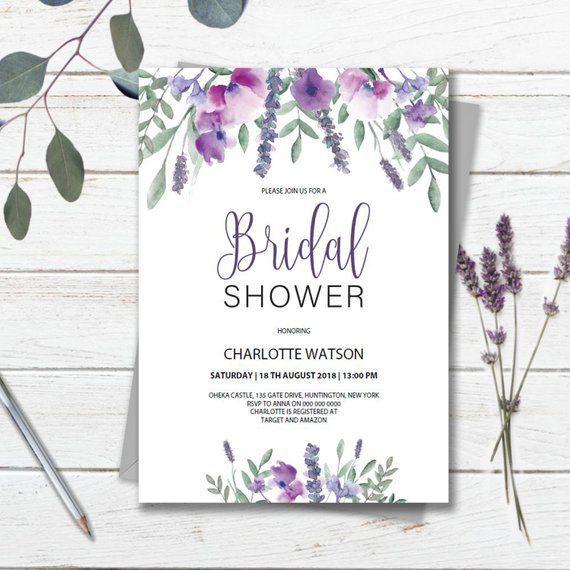 Purple Bridal Shower Invitation Template Printable Instant Etsy Bridal Shower Invitation Cards Purple Wedding Invitations Bridal Shower Invitations Templates