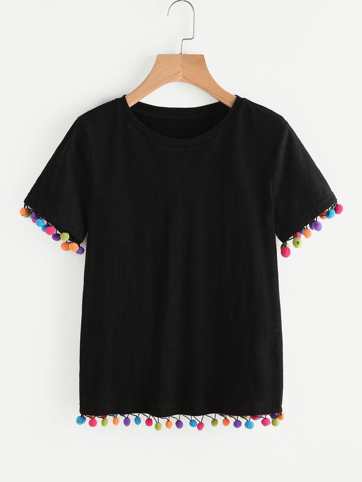 Shop Colorful Pom Pom Trim Slub Tee online. SheIn offers Colorful Pom Pom Trim Slub Tee & more to fit your fashionable needs.