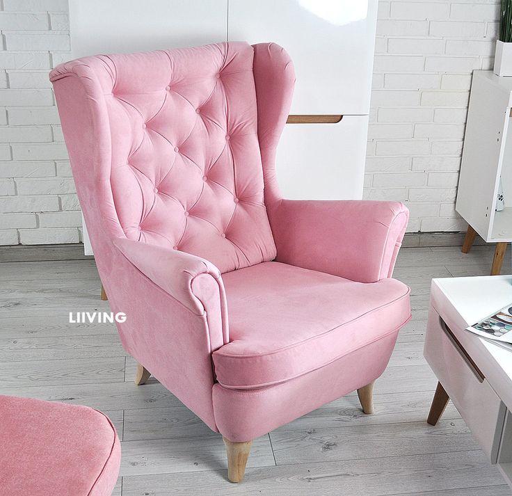 Fotel o wyjątkowym kolorze ciemniejszy odcień pudrowego różu.Fotel z pikowaniem na oparciu.BArdzo wygodny i komfortowy.Wysyłamy fotele na całą Polskę