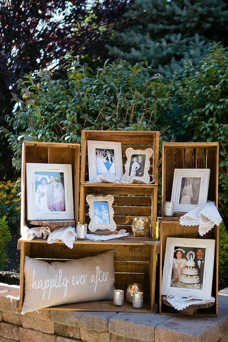 Wine Crate Wedding Photo Display