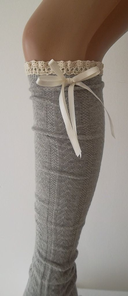 Grey High Knee Socks Boot Socks Lace  Over The by CarnavalBoutique, $22.00