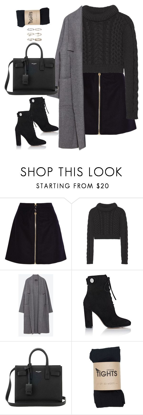"""""""Untitled#4614"""" by fashionnfacts ❤ liked on Polyvore featuring Acne Studios, TIBI, Zara, Gianvito Rossi, Yves Saint Laurent and Boohoo"""