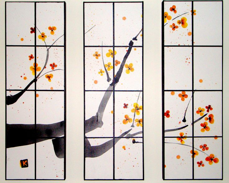 """BLOSSOM DAY Ink on canvas Triptych Each Panel 31cmx91cm (12""""x36"""") $600"""