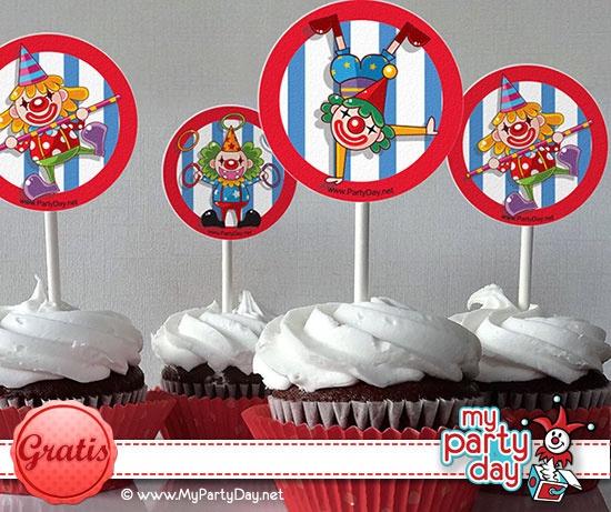 Cupcake toppers for a Circus Party / Toppers para cupcakes para una fiesta de circo