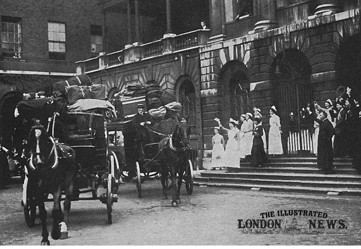 A Red Cross unit leaves Guy's Hospital, London, destined for the front line and receiving a send off from hospital staff. A unit consisted of ten surgeons, ten dressers, and twenty fully qualified hospital nurses.