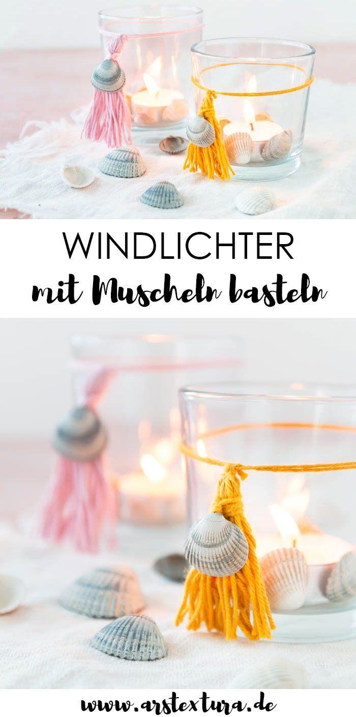 Windlicht basteln und mit Muscheln und Quasten aus Wolle verzieren – Sommerliche Windlichter als Tischdeko – Dekoration für den Sommer