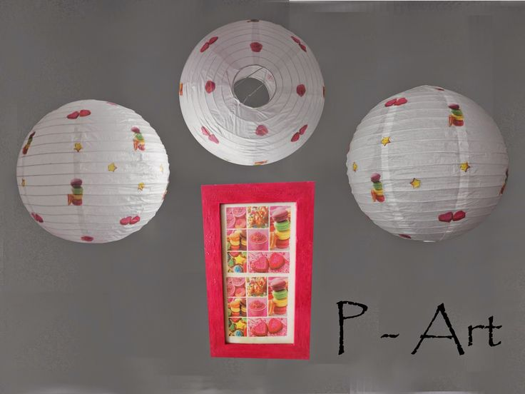 P - ART : LAMPSHADE AND PAINTING - CAKES