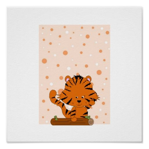 Cute Baby Tiger Cartoon Posters