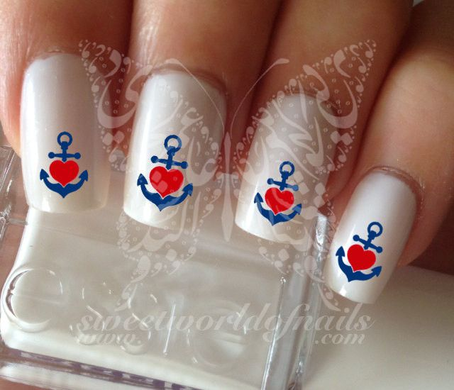 Summer Nail Art Red Heart Anchor Nail Water Decals Transfers Wraps