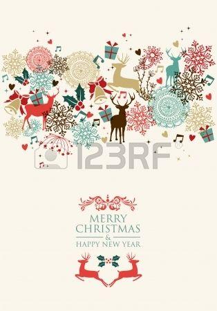 ビンテージのクリスマス カードと幸せな新年のシームレスなパターン背景。 写真素材