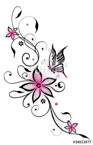 Filigree tendril with flowers and butterfly. Black and pink. Filigree tendril with flowers and butterfly. Pink and black. © Christine Krahl – #chr …