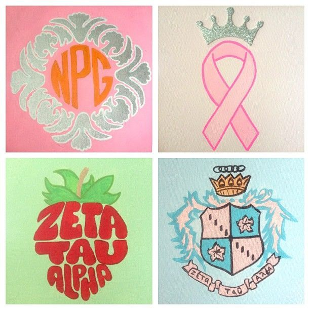 Monogram and sorority canvases. Give to future little or keep for myself? Life is full of hard decisions