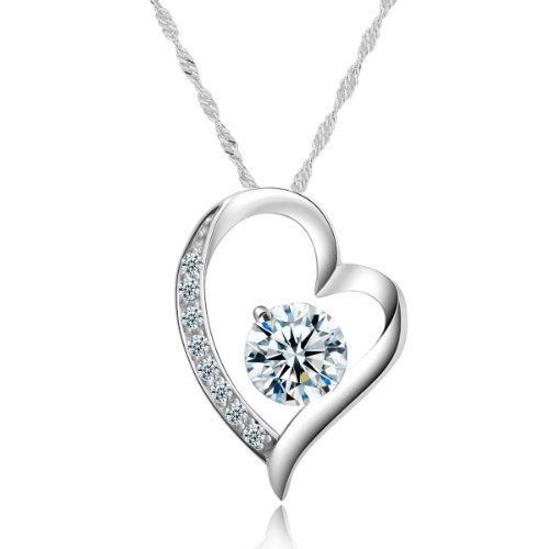 Chaomingzhen White Gold Plated 925 Sterling Silver Heart Cubic Zirconia Diamond