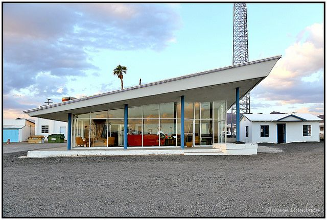 The former office and lobby at Roy's Motel along Route 66 in Amboy, CA.  A fantastic example of midcentury design.