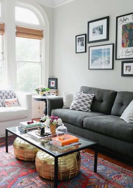 Apartment LOVE | Margaret Elizabeth | Charcoal Grey Couch | Glass Coffee Table