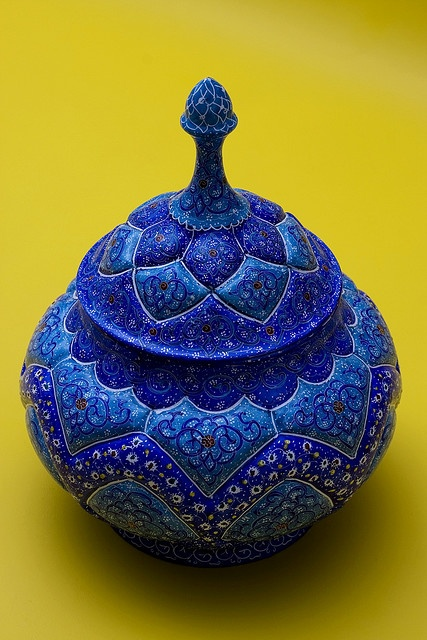 Persian Art    In my recent trip to Iran, I picked up this hand crafted, hand painted (unknown artist) in Esfahan(Isfahan), The Iranian city of craftsmanship.